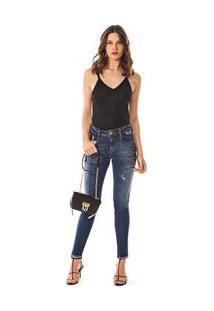 Calca Skinny Andreia Cos Intermediario Barra Diferenciada Jeans