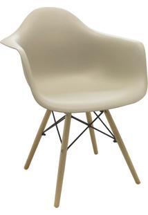 Cadeira Com Braço Pp Base Madeira Eiffel -Rivatti - Nude