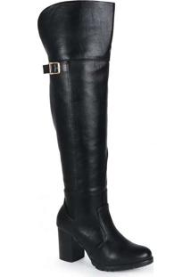 Bota Over The Knee Feminina Mooncity Fivela Preto