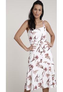 Vestido Feminino Midi Estampado Floral Com Botões Alça Média Branco
