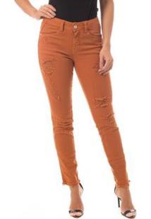 16d9e3591 ... Calça Jeans Denuncia Mid Rise Skinny Feminina - Feminino-Marrom