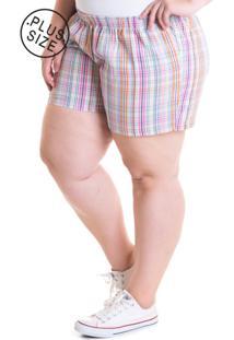 Short Feminino Plus Size Tecido Anarruga 51931 Xadrez - Rosa/Xadrez - Feminino - Dafiti