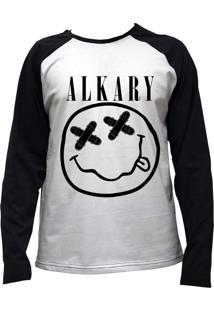Camiseta Alkary Raglan Manga Longa Nirvana Branca E Preta