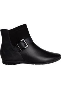 Bota Feminina Comfortflex Ankle Boot Camurça Preto - 36