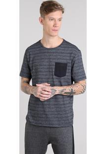 Camiseta Masculina Básica Listrada Com Bolso Manga Curta Gola Careca Cinza Mescla Escuro