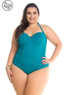 Maiô Plus Size Com Recortes Maré Brasil Verde Multicolorido