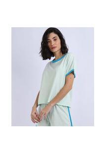 Pijama Feminino Manga Curta Decote Redondo Azul Claro