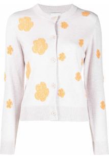 Barrie Cardigan Com Botões E Estampa Floral - Neutro