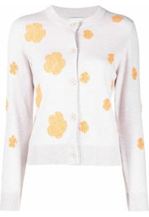 Barrie Floral-Print Button-Up Cardigan - Neutro