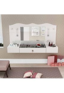Penteadeira Suspensa 2 Portas E 1 Gaveta Com Espelho Vip Branco/Branco/Pink - Colibri