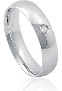 Aliança De Ouro Branco 18K Anatômica Abaulada Com Diamante (4,80Mm)