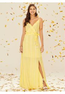 Vestido Amarelo Longo Listrado Fenda Enfim