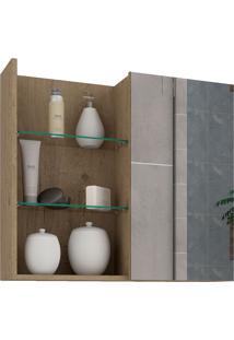 Espelheira Para Banheiro Com 1 Porta 60Cm Jasmin-Mgm - Carvalho