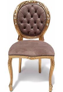 Cadeira Medalhão Provençal Entalhada Madeira Maciça Design De Luxo Peça Artesanal