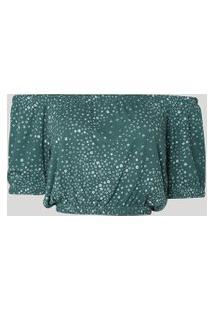 Blusa Feminina Cropped Ombro A Ombro Estampada Floral Manga Bufante Verde