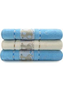 Kit Toalha De Banho Infantil 3 Peã§As Soft Baby - Appel - Azul Cã©U/Pã©Rola - Azul - Dafiti