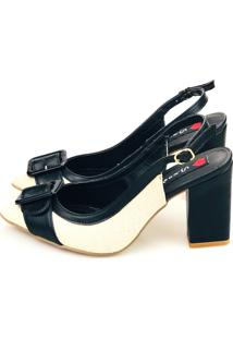 6d3ff934e ... Scarpin Aberto Love Shoes Salto Grosso Alto Fivela Preta Abs Juta