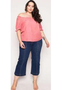 Blusa Almaria Plus Size Enois Liso Rosa Rosa