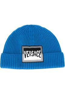 Versace Gorro Com Patch De Logo - Azul