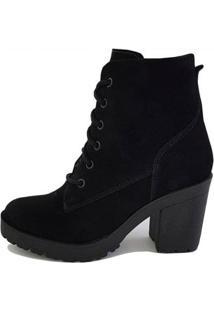 Bota Trivalle Shoes Tratorada Tendenza Camurca Feminina - Feminino-Preto