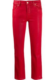 7 For All Mankind Calça Jeans Cropped - Vermelho