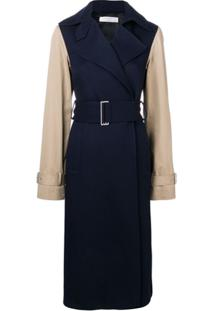 Victoria Beckham Contrast Sleeve Fitted Coat - Azul