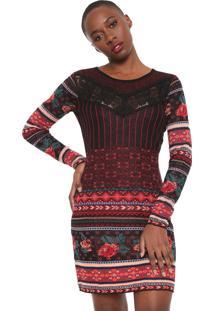 Vestido Desigual Curto Tricot Naila Preto/Vermelho - Kanui