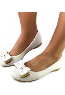 Sapatilha Likka Calçados Fivela Matelassê Branca