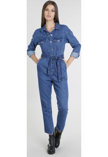 aeb7ee356 Macacão Jeans Feminino Com Bolsos Manga Longa Azul Médio