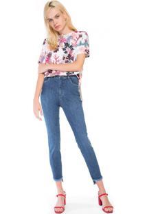Calça Jeans Slim Barra Assimétrica