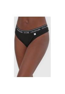 Calcinha Calvin Klein Underwear Fio Dental Lettering Preta