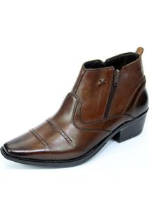 Bota Country Masculina Texas Couro Legitimo Salto Carrapeta R.O. - 608 - Cafe