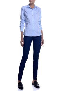 Camisa Ml Feminina Jacquard (Azul Claro, 40)