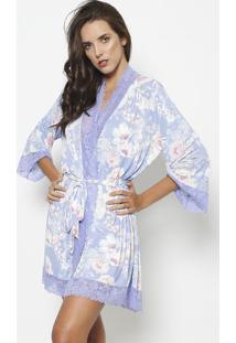 Robe Com Renda & Amarraã§Ã£O- Lilã¡S & Off Whitefruit De La Passion