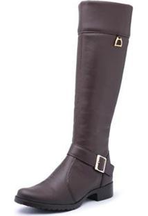 Bota Kilser Shoes Montaria Cano Longo Fivela Com Zíper Moderna Feminina - Feminino-Café