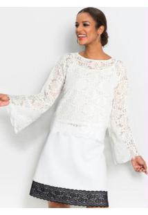 Blusa De Renda Com Forro Separado Off White