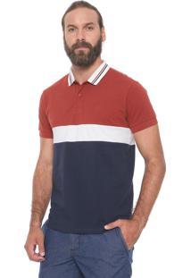 Camisa Polo Colcci Reta Color Block Caramelo/Azul-Marinho
