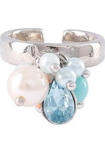 Anel Armazem Rr Bijoux Pingentes Pérolas E Cristal Azul Prata