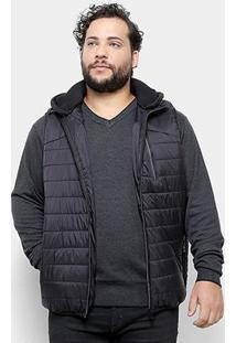 Colete Delkor Puffer Plus Size Masculino - Masculino-Preto