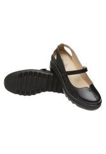 Sapato Feminino Conforto Anna Andrade Em Couro Sapatilha Casual Preto