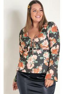 Blusa Floral Com Amarração No Busto Plus Size
