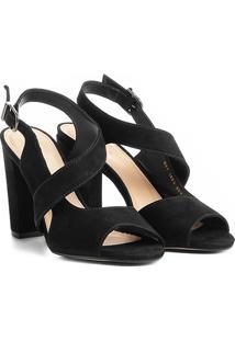 Sandália Couro Shoestock Salto Grosso Feminina - Feminino-Preto