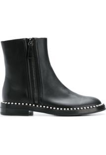 Casadei Ankle Boot De Couro Com Tachas - Preto