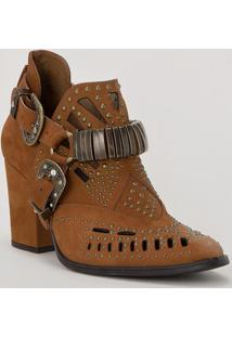 Ankle Boot Em Couro Com Fivelas- Marrom & Bronze- Sacarmen Steffens