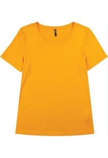 Blusa Básica Com Decote Redondo Laranja