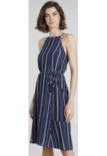 Vestido Feminino Halter Neck Listrado Com Amarração Azul Marinho