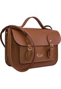Bolsa Line Store Leather Satchel Pequena Couro Savannah Premium. - Caramelo - Feminino - Dafiti