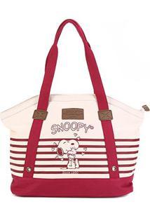 Bolsa Snoopy Tote Bag Estampada Feminina - Feminino-Bege+Vermelho