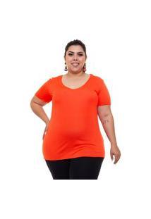 T-Shirt Justa Almaria Plus Size Mais Na Moda Decote Redondo Laranja