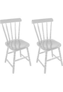 Conjunto Com 2 Cadeiras Dalas Branco Brilho